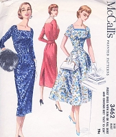 1950s LOVELY Day or Cocktail Evening Dress Pattern McCALLS 3462 Slim or Full Skirt Sq Neckline Dress Easy To Sew Bust 30 Vintage Fifties Sewing Pattern