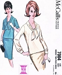 Classic Early 60s 2 Pc Dress Pattern McCALLS 7004 Slim Pencil Skirt Front Tie Over Blouse Top Vintage Sewing Pattern