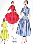 1950s Lovely Full Skirt Dress Pattern McCalls 9134 Adaptation of an Italian Couture Design 2 Pc Dress Beautiful Neckline Blouse Full Circle Skirt Bust 32 Vintage Sewing Pattern FACTORY FOLDED