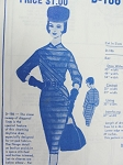 Early 60s Slim Dress Pattern Modes Royale D-186  Striking Diagonal Design Detail Bust 32 Vintage Sewing Pattern FACTORY FOLDED