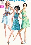 60s Evening Cocktail Party Sun Dress Pattern Simplicity 8141 Three Versions 2 Bare Midriff Disco Styles Plus Obi Sash Vintage Sewing Pattern UNCUT Bust 36