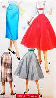1950s ROCKABILLY Slim Pencil or Full Suspender Skirts Pattern SIMPLICITY 1281Simple To Make Retro Skirts Waist 27 Vintage Sewing Pattern