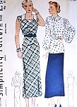 1930s Dress, Blouse and Skirt Pattern SIMPLICITY 1741 Slim Low Back Dress Lovely Full Sleeved Over Blouse Slim Narrow Skirt Bust 34 Vintage Sewing Pattern FACTORY FOLDED