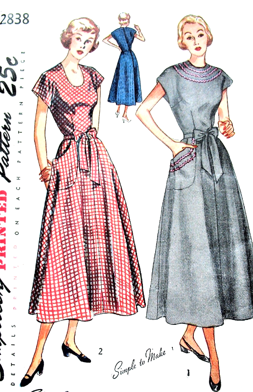 1940s cute wrap around dress pattern simplicity 2838 easy