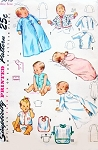 1940s SWEET Infants Baby LAYETTE Wardrobe Pattern SIMPLICITY 3043 Adorable Baby Clothing Vintage Sewing Pattern + Embroidery Transfer