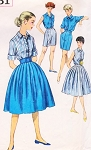 1950s FAB Weekend Resort Wear Pattern SIMPLICITY 3051 Full Skirt, Blouse and High Waist Walking Shorts Perfect For Travel Bust 36 Vintage Sewing Pattern FACTORY FOLDED