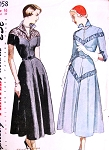 1940s Unique Dress Pattern SIMPLICITY 3058 Wing Collar Two Styles Day or Evening Bust 34 Vintage Sewing Pattern