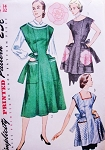 1950s CLASSIC House Dress and Aprons Pattern SIMPLICITY 3717 Button Back Dress Large Pockets Aprons in 2 Styles Includes  Applique Transfer Bust 30 Vintage Sewing Pattern
