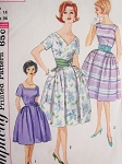 1960s Lovely Day or Cocktail Party Dress Pattern Simplicity 3877 Three Neckline Styles Full Skirt Dress and Cummerbund Bust 36 Vintage Sewing Parttern