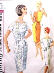 1960s Slim Dress Pattern SIMPLICITY 3970  Simple To Make 3 Style Versions Bust 31.5 Vintage Sewing Pattern