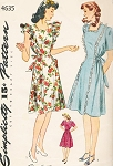 1940s Cute Pinafore or Maternity Dress Pattern Simplicity 4635 Two Styles Sweetheart or Square Neckline Regular or Ruffled Version Bust 32 Vintage Sewing Pattern