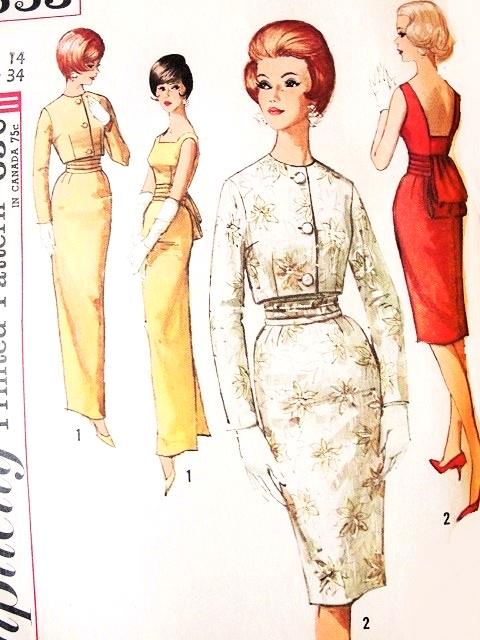 1960s Elegant MAD MEN Evening Cocktail Wiggle Dress Gown SIMPLICITY Pattern  4653 Low Back Obi-Sash Short Jacket Oriental Style Bust 34 Vintage Sewing  ...