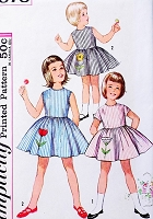 1960s SWEET Little Girls Dress Pattern SIMPLICITY 4878 Toddlers Size 3 Vintage Sewing Pattern