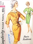 Fab Paris Designed Early 60s Dress Pattern SIMPLICITY Paris Fashion 4933 Slim Dress and Dickey  Bust 38 Vintage Sewing Pattern FACTORY FOLDED