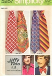 Retro 70s Mens Jiffy Ascot and Neck Ties Pattern SIMPLICITY 5287 Vintage Sewing Pattern