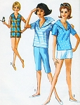 1960s GIDGET Style Sailor Collar Blouse Top Shorts and Jamaica Shorts Pattern SIMPLICITY 5386 Perfect Beachwear Resort Styles Bust 33 Vintage Sewing Pattern FACTORY FOLDED