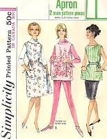 1960s Cute Full or Short Apron Pattern SIMPLICITY 5763 Suitable For Border Prints Size Small Jiffy Apron Sixties Sewing Pattern