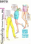 1960s High Waist Proportioned Shorts, Jamaica Shorts, Slacks Slim Pants Pattern Simplicity 5973 Vintage Sewing Pattern UNCUT Waist 24