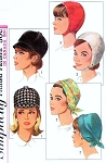 1960s MOD Hats Pattern SIMPLICITY 6191 Three Fab Styles Equesterian Jockey Hat ,Chin Strap Helmet Hat ,Draped Scarf Hat One Size Vintage Sewing Pattern