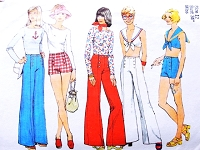 70s Simplicity 6407 Pattern PIN UP Style Sailor Pants PulloverTop Midriff Sailor Collar SailorType Front Button Closing Wide Leg Pants Shorts Bust34 Vintage Sewing Pattern UNCUT