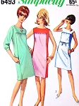 MOD 1960s COLOR BLOCK Mondrian Shift Dress Pattern SIMPLICITY 6493  Three Style Versions Bust 31 Vintage Sewing Pattern UNCUT