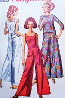 1960s MOD Jumpsuit Palazzo Pants Pattern SIMPLICITY 7023 Overbouse Wide Leg Pants  Bust 36 Vintage Sewing Pattern