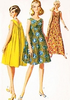 1960s LOVELY Drape-Back Princess Line Muu Muu Dress or Gown Pattern SIMPLICITY 7088  Bust 36 Hostess Lounge Gown Vintage Sixties Sewing Pattern
