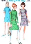 1960s MOD Cute Dress Pattern SIMPLICITY 7246 Regular or Mini Length Raglan Sleeves A Line Bust 32 Vintage Sewing Pattern