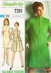 1960s MOD Coat and Dress Pattern SIMPLICITY 7261 Designer Fashions Military Style Coat Bust 32 Vintage Sewing Pattern FACTORY FOLDED