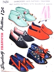 1940s Fab FELT SLIPPERS Pattern Simplicity 7424 Five Styles Plus Transfers Sizes S,M and L Vintage Sewing Pattern