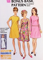 MOD 60s Basic Dress Pattern Easy To Sew SIMPLICITY 7507 Three Styles Bust 37 Vintage Sewing Pattern UNCUT