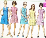 1960s MOD A Line Dress Pattern SIMPLICITY 7530 Five Cute Style Versions Bust 32 or 36 Vintage Sewing Pattern