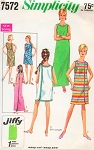 MOD 1960s Wrapped Maxi or Mini Dress Beach Coverup Pattern SIMPLICITY 7572 Three Armhole Wrap Jiffy Easy To Sew Bust 38-40 Vintage Sewing Pattern