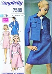 Mod 60s Dress and Jacket Pattern Simplicity Designers 7589 Empire Waist A Line Dress  Vintage Sewing Pattern FACTORY FOLDED