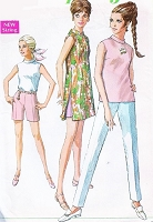 1960s MOD Simplicity 7591 Mini Dress or Blouse Tapered Slim Pants and Shorts Tunic with Side Slits Bust 32 Vintage Sewing Pattern UNCUT