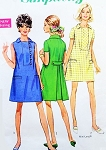 1960s CUTE Mod Dress Pattern SIMPLICITY 7634 Back Inverted Pleat Two Style Versions Bust 38 Vintage Sewing Pattern