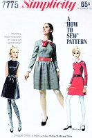 CUTE 60s How To Sew Dress Pattern SIMPLICITY 7775 Mini or Regular Length, Detachable Collar, Cuffs Bust 36Vintage Sewing Pattern