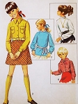 1960s CUTE Little Girls Toddlers Blouse, shirt and Scarf Pattern SIMPLICITY 8307 Four Styles Size 4 or 5 Vintage Sewing Pattern UNCUT