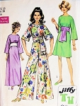 60s Day Evening or Lounging Pantdress Hostess Gown Easy To Sew Jiffy Pattern SIMPLICITY 8560 Maxi  or Mini Dress  or Palazzo Pant Jumpsuit Obi Sash Kimono Bell Sleeves  Bust 38 Vintage Sewing Pattern FACTORY FOLDED