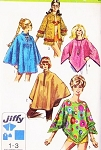 70s Mod Poncho in 2 Lengths BEACH TOWEL JACKET and Cape Pattern Simplicity 8850 Vintage Sewing Pattern Size Large Fab Styles UNCUT