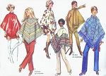 1970s RETRO Poncho Capes, Mini Skirt and Pants Pattern SIMPLICITY 8932 Ponchos Have Neckline Interest Size 10 Vintage Sewing Pattern FACTORY FOLDED