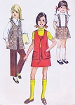 1970s RETRO Girls Suspender Skirt, Pants and Vest Pattern SIMPLICITY 8942 Cute Styles Size 10 Vintage Sewing Pattern UNCUT