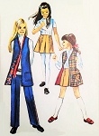 CUTE Mod 70s Girls Skirt, Pants and Vest Coat Pattern Simplicity 8947 Size 10 Vintage Sewing Pattern UNCUT
