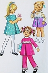 1970s SWEET TODDLERS Party Dress and Pants Pattern SIMPLICITY 9129 Cute Styles Size 3 Vintage Sewing Pattern UNCUT