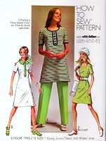 Retro 70s Dress and Pants Pattern SIMPLICITY 9285 How To Sew Mini or Below Knee Bust 32.5 or 33.5 Vintage Sewing Pattern UNCUT