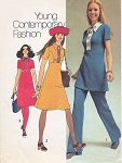 70s Simplicity 9502 Vintage Sewing Pattern Cute Empire Mini Dress or Tunic or Regular Length and Pants Size 8 FACTORY FOLDED