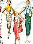 1950s Rockabilly Suspender Skirt, Puff Sleeve Blouse and Stole Pattern Simplicity 1689 Slim High Rise Shaped Waistline Figure Show Off Style Bust 38 Vintage Sewing Pattern
