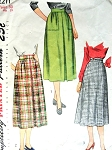 1940s Skirt Pattern Simplicity 2211 Three WW II  Styles Waist 30 Vintage Sewing Pattern