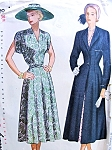 1940s BEAUTIFUL Dress and  PRINCESS REDINGOTE Pattern SIMPLICITY 2409 Figure Flattering Nip In Waist  Wide Lapel Coat Vintage Sewing Pattern Bust 40