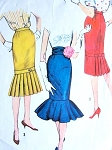 1950s Skirt Pattern Simplicity 2813 Vintage Sewing Pattern Flirty Rockabilly Slim Skirts with Pleated or Flounced Bottom, Cummerbund Hip 36